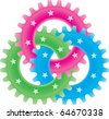 Tree colored gears isolated on white (settings or amalgamation icon) - stock photo