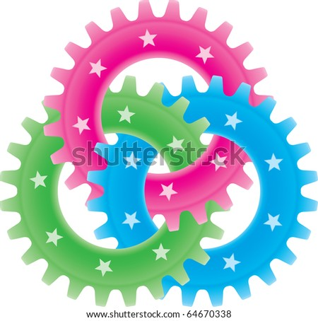 Tree colored gears isolated on white (settings or amalgamation icon) - stock photo