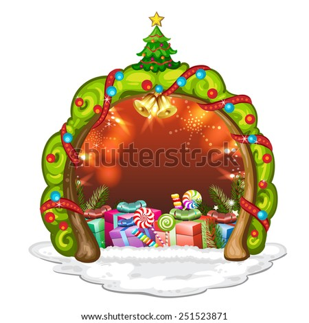 Tree crown for Christmas with gifts - stock photo