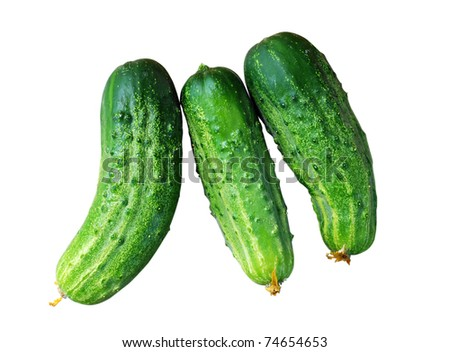 Tree cucumbers isolated on a white background