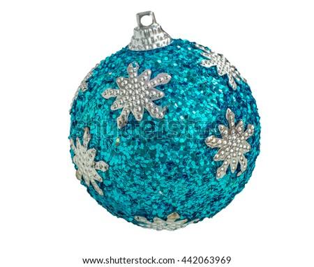 Tree decoration. Blue christmas ball isolated on white. - stock photo