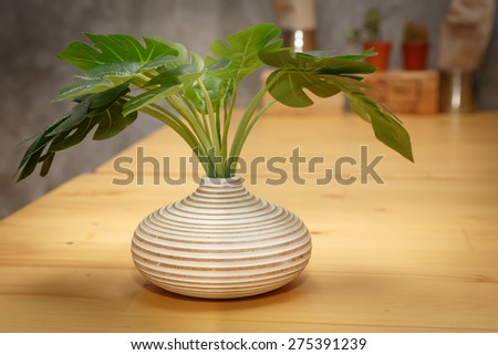 tree decorative on wooden table - stock photo