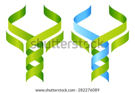 Tree DNA symbol, a DNA double helix growing into a stylised plant tree shape. Great for medical, science, research or other nature related use. - stock photo