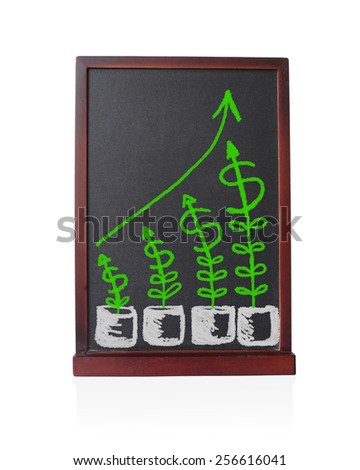 Tree dollars growth up with graph statistical trend written on chalkboard isolated object - stock photo