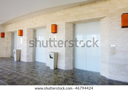 tree doors of elevator in contemporary style - stock photo