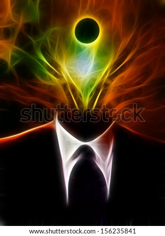 Tree emerges from business suit in painterly style - stock photo