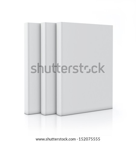 tree empty white books standing, isolated on white background - stock photo