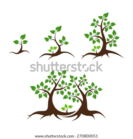Tree family illustration - orphan child, single parent, mother, father and child - stock photo
