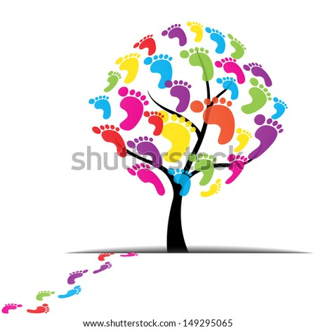 tree, foot, paw, print isolated on white background - stock photo