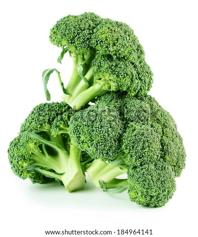 Tree fresh whole broccoli isolated on white background - stock photo