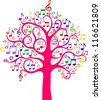 Tree from musical notes. illustration - stock