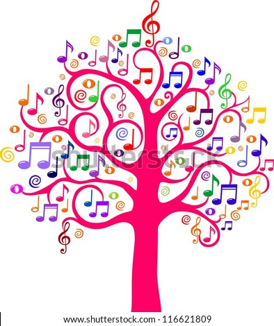 Tree from musical notes. illustration - stock photo