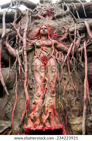 Tree goddess of ancient Indian tribal spiritual culture carved in a huge banyan tree trunk - stock photo
