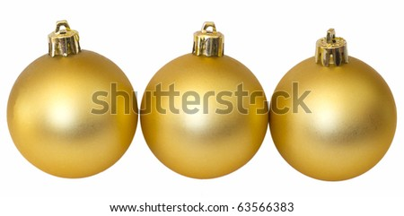 tree golden balls isolated on white, Christmas decoration - stock photo