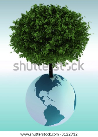 Tree growing from a globe
