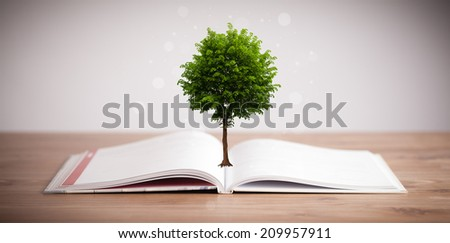 Tree growing from an open book, alternative recycling concept - stock photo