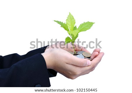 Tree growing on Baht coins with hands - stock photo