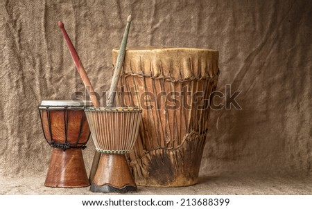 tree handmade djembe drums - stock photo