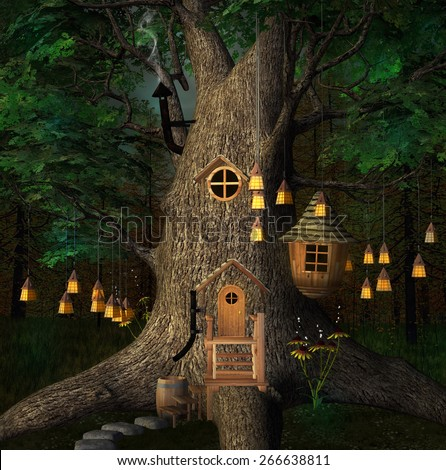 Tree house by night with lanterns - stock photo