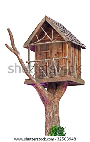 Tree House Isolated on White Background - stock photo
