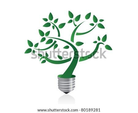 Tree in lightbulb socket symbolizing ecology and eco environmental friendly energy