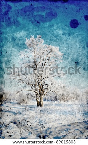 tree in snow ongrunge  background - stock photo