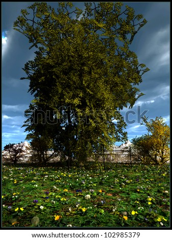Tree in the middle of flowery meadow