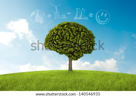 Tree in the shape of brain thinks to environmental solution - stock photo