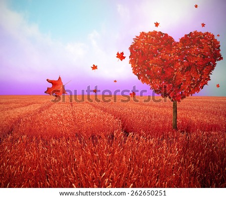 Tree in the shape of heart, valentines day background, creative screen saver. Ecology nature eco friendly concept - stock photo