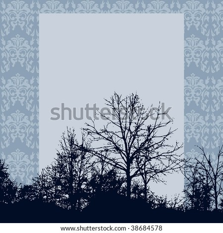 Tree landscape silhouette with damask wallpaper background and space