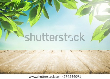 Tree leaves and wooden empty table - stock photo