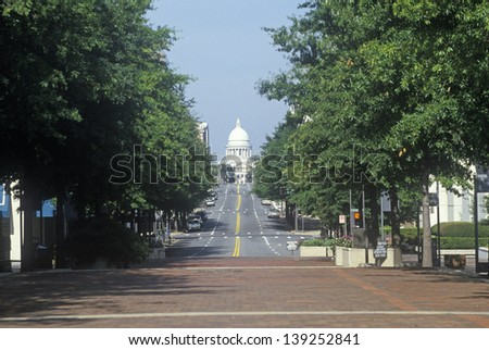 Tree line leading to the State Capitol of Arkansas, Little Rock - stock photo