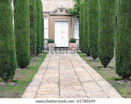 Tree Lined Mansion Path - stock photo