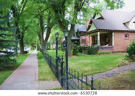 Tree Lined Neighborhood - stock photo