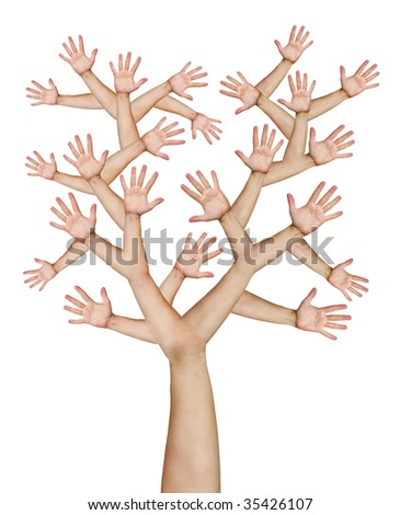 Tree made of hands isolated over white background