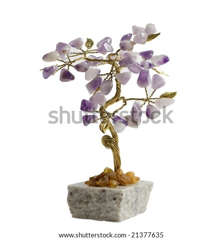 Tree made of natural stones. Isolated on white background.