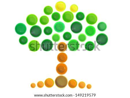 Tree made of plastic bottle cap - stock photo