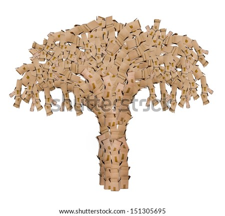 Tree made of recycled boxes concept on a white background - stock photo