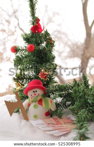 tree, money, snowman, Christmas trees sale, new year