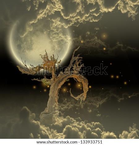 Tree Moon and Stars - stock photo