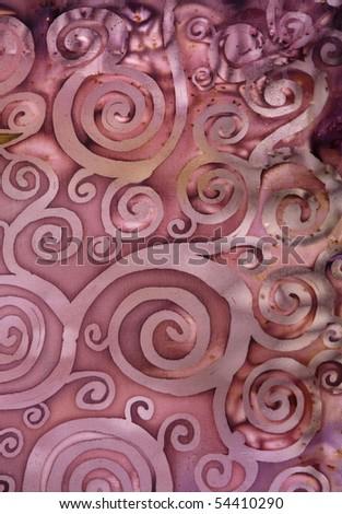tree of abstract swirl, batik - stock photo