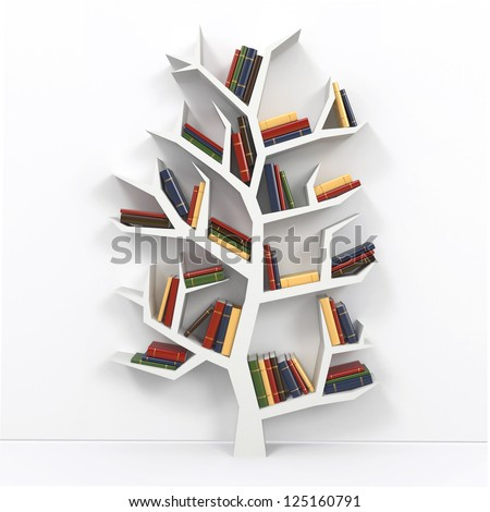 Tree of knowledge bookshelf on white background 3d for Tree of life bookshelf