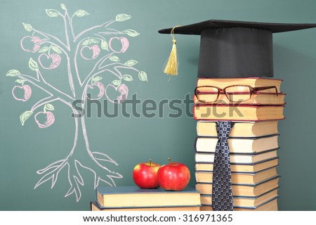 Tree of knowledge education concept with unusual teacher - stock photo