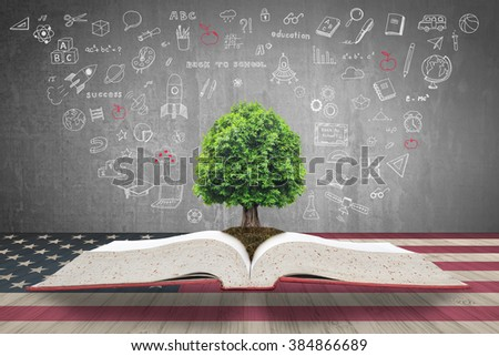 Tree of knowledge/ life growing from big archive open textbook w/ creative freehand doodle drawing on black chalkboard background & USA flag wood table: Educational natural growth conceptual csr idea - stock photo