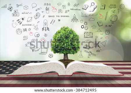 Tree of knowledge/ life growing from big archive open textbook w/ doodle on vintage USA flag pattern on aged wood table, blur natural green background: Read across america day concept: US CSR bio idea - stock photo