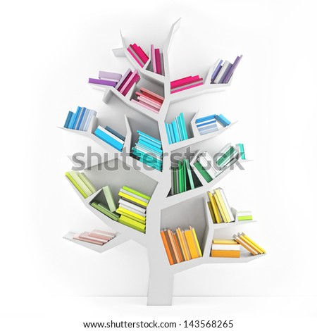 Tree of Knowledge, White Shelf with Multicolor Books Isolated on White Background - stock photo