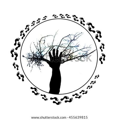 Tree of Life Illustration of a Tree and Human Hand as One Silhouette with Color