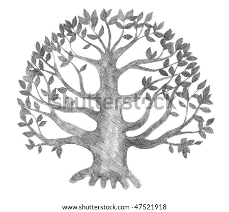tree of life silhouette, pencil drawing, illustration - stock photo