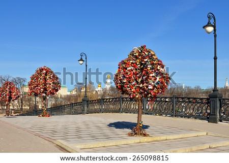 Tree of Love, Luzhkov Bridge. Moscow, Russia - stock photo