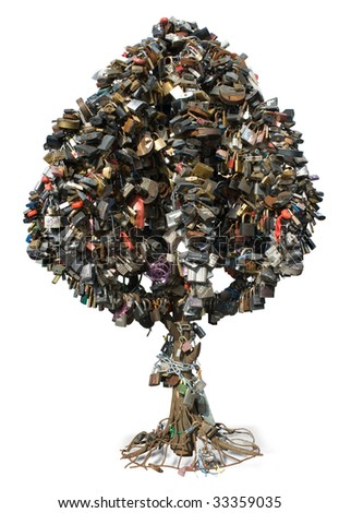 tree of padlock - stock photo